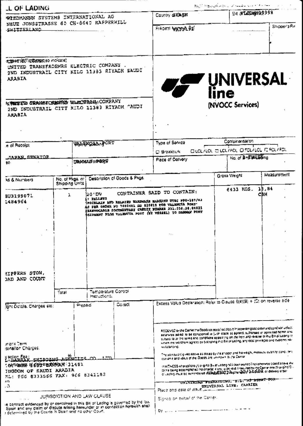 Bill Of Lading Document  Blank Bill Of Lading Form Template